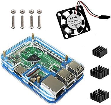 Para Raspberry Pi 3 Model b Kit , 5 Capas Caja , Ventilador ...