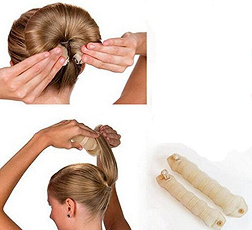 Hot Sale Fashion 2pcs Hair Tools Elegant Magic Style Buns Hair Accessories (1pack=1pc small+1pc large) (creamed-color)