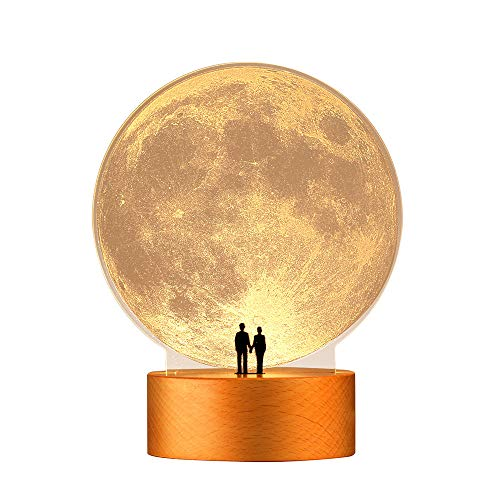 mamre Moon Night Light Anniversary Wedding Valentines Day Gift Ideas Art Décor, Under the Supermoon of Love