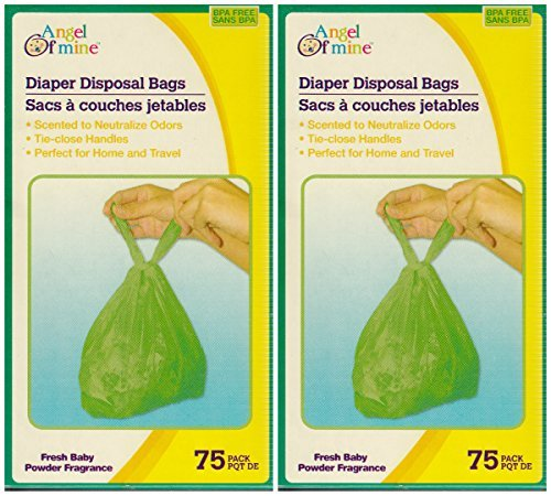 Angel of Mine: Diaper Disposal Sacks Bags (Scented to Neutralized Odors) 75 Count Per Box (Two Boxes)