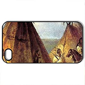 tent - Case Cover for iPhone 4 and 4s (Houses Series, Watercolor style, Black)