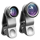 VicTsing 3 in 1 Clip-on Fisheye Plus Wide Angle Plus Macro,Cell Phone Camera Lens Kit for iPhone6 6 Plus 6S 5 5S iPad Air Android Phones Flat Camera - Silver