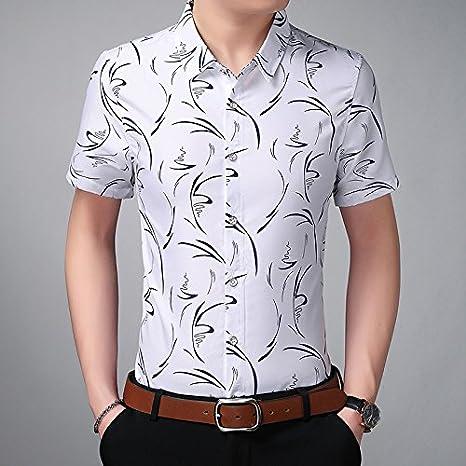 JING camisa Camisa de Manga Corta de Manga Corta de Hombre Blanco de Xia Da Código, Blanco, L: Amazon.es: Deportes y aire libre