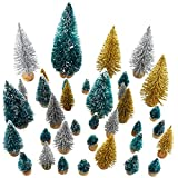 37 Pieces Artificial Sisal Christmas Tree Mini Pine Tree with Wood Base DIY Crafts Home Table Top Decor Christmas Ornaments Green, Glitter Gold and Glitter Silver