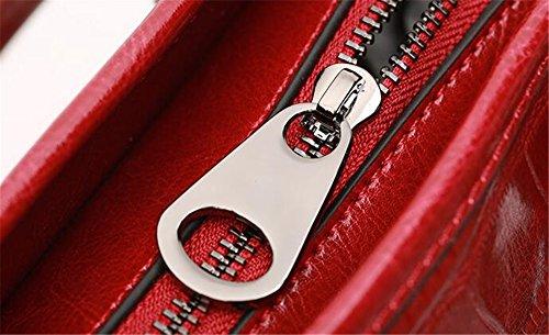 de bandoulière cuir crocodile Paquet de souple Sacs motif diagonale et Printemps solide cuir à sauvage main en couleur femme Sac à en plus Red été main AwvR8