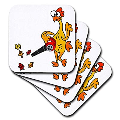 3dRose All Smiles Art - Funny - Cute Funny Unique Rubber Chicken using Leaf Blower - Coasters