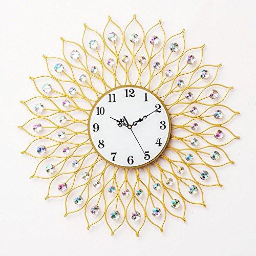 White 6060 Corner - WuuLii Decor Wall Clock- Large Living Room Luxury Wall Clock- European Peacock Wall Clock Novelty Decor Wall Clock Non Ticking Quality Quartz Wall Clock,6060cm Crystal Dial Gold White Diamond
