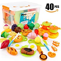 SONi 40Pcs Cutting Food Toys, Pretend Food Set with Storage Case, Kitchen Toy Set Fun Cutting Pizza Fruits VegetableOmelette Family Playset Cutting toys For Girls Boys Early Age Educational Skills Development