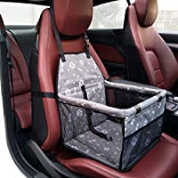 Pet Booster Seat Dog Cat Cage Comfort Travel Waterproof Foldable Safety Car Front or Rear Seats with Seat Belt Tether (Gray-Bone)