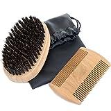 Beard Care Set, MOOKLIN Natural Boar Bristle Brush & Handmade Wooden Comb, Prefect Gift for Men with Beard