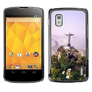 Be Good Phone Accessory // Dura Cáscara cubierta Protectora Caso Carcasa Funda de Protección para LG Google Nexus 4 E960 // Architecture Brazil Jesus Statue