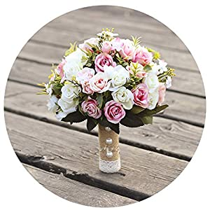 QianQianStore Wedding Bouquet Handmade Artificial Flower Rose Bouquet Casamento Bridal Bouquet for Wedding Decoration 35