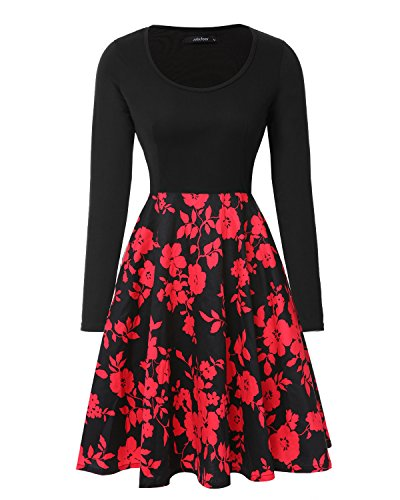Mixfeer Women's Vintage Scoop Neck Midi Dress Long Sleeve A-line Flare Floral with Pockets Cocktail Party Tank Dress (Neck Long Dress Scoop Sleeve)