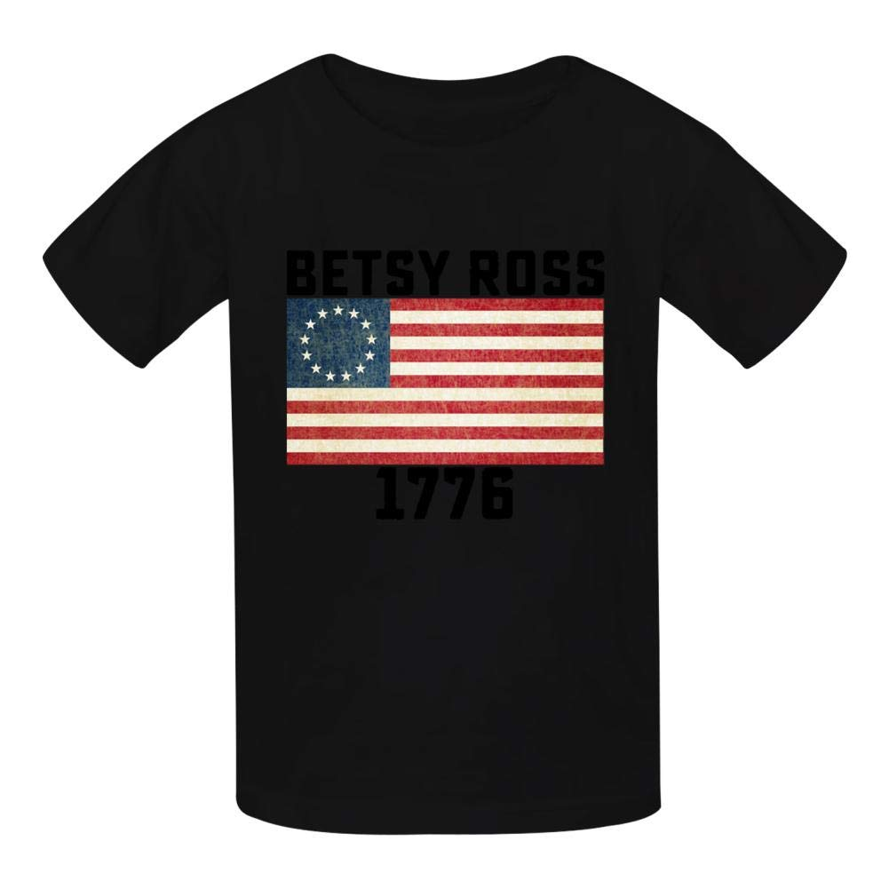 Ross Flag 1776 Vintage Boys Summer Slim Fit Pure Color Short Sleeve Casual T-Shirts