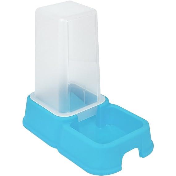 com-four® Dispensador de Agua y alimento para Mascotas de 1.5 litros, comedero automático en Azul para Perros y Gatos, 26.2 x 24 x 15.4 cm (01 Piezas ...