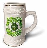 3dRose Uta Naumann Sayings and Typography - Ireland Holiday Motivational and Clover Frame - Happy St Patricks Day - 22oz Stein Mug (stn_275291_1)