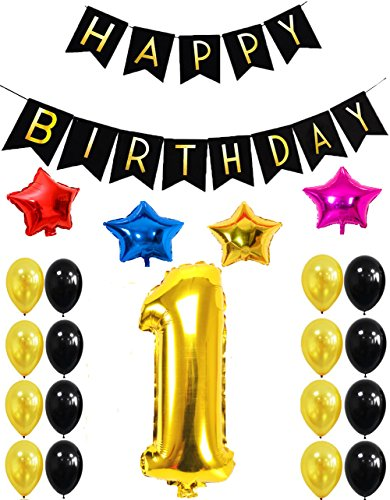 1st HAPPY BIRTHDAY PARTY DECORATIONS KIT - Happy Birthday Black Banner,1st Gold Number Balloons,Gold and Black, 40 '' Number 1, Perfect for 1 Years Old Party (One Year Old Birthday Party Ideas)