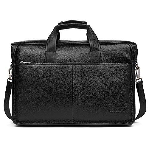 BOSTANTEN Herren Leder Laptop Tasche Aktentasche Henkeltasche Groß Braun 15 Zoll Schwarz XakToQyI3