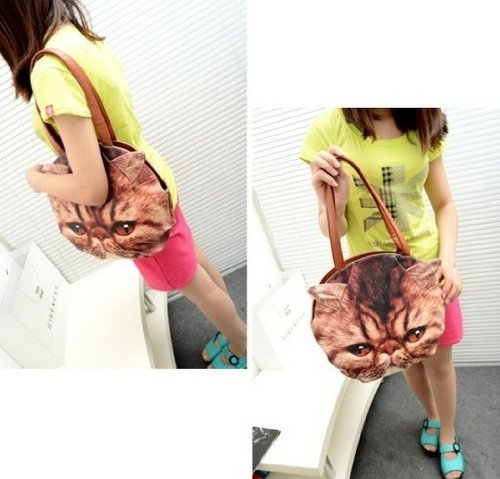 Fashion Cat Handbag Face Shape PU Leather Shoulder Bag Handbag