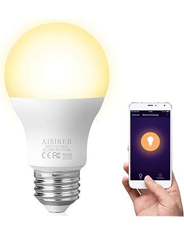 Bombilla Inteligente WiFi Lámpara AISIRER LED WiFi Smart Bulb E27 No Requiere Hub 9W 2700K Amarillo