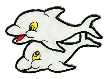 Hellgrau Grau Aufn/äher B/ügelbild Aufb/ügler Iron on Patches Applikation Delfin Delphin Kinder