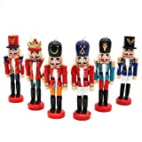 Wmbetter 6 pcs Wood Nut Cracker Ornament Nutcracker Figures Hanging Decoration for Christmas Decor
