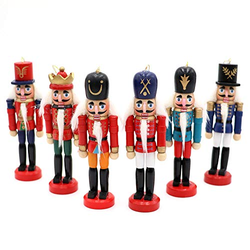 (Wmbetter 6 pcs Wood Nut Cracker Ornament Nutcracker Figures Hanging Decoration for Christmas Decor)