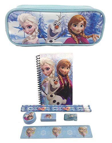 (Brand New Disney Frozen Queen Elsa, Princess Anna & Olaf Stationary Set + Pencil Pouch Combo Baby Blue)