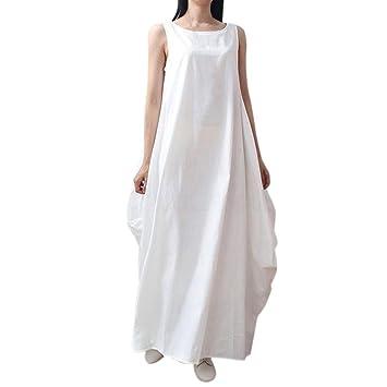 WWricotta Vestidos Largo Casual Mujer Sin Mangas Vintage Suelto Elegantes Playa Vestido de Calle Falda Vestido