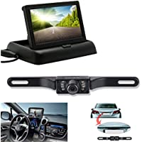 Backup Camera and Monitor Kit, Chuanganzhuo Portable Foldable 4.3 Inch Color LCD TFT Rearview Monitor Screen with Waterproof Vehicle Car Rear View Backup License Plate Camera