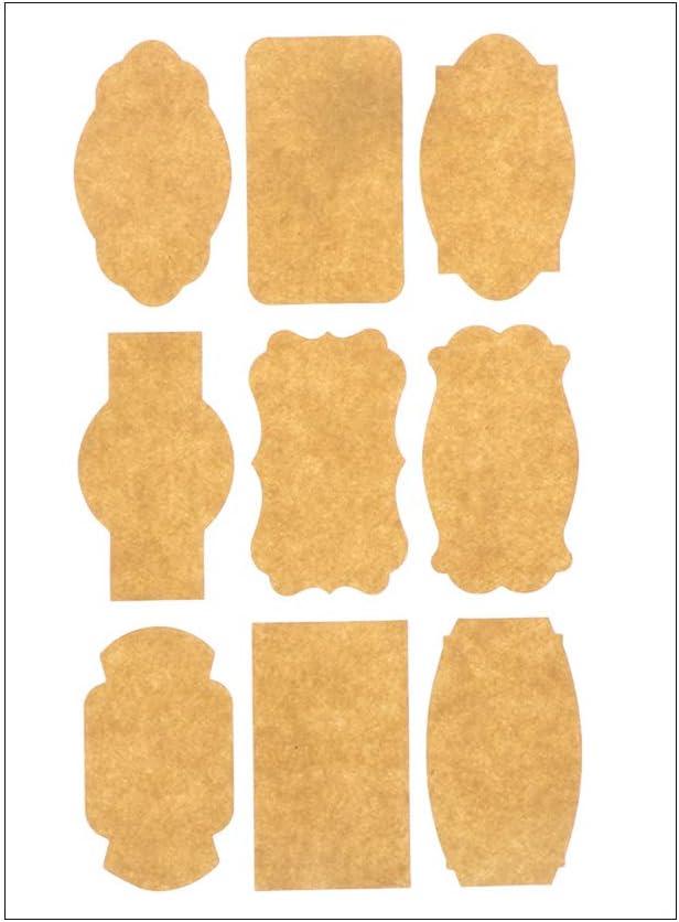 Style 1 Zhualemon mnvxcbxv 45pcs //Blank Sticky Kraft Self Adhesive Gift Cake Decor Packaging Seals Kraft Paper
