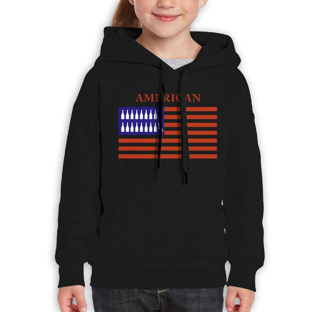 DTMN7 Distressed Red White /& Blue Wine Glass American Flag New Printed O-Neck Pullover For Kids Spring Autumn Winter