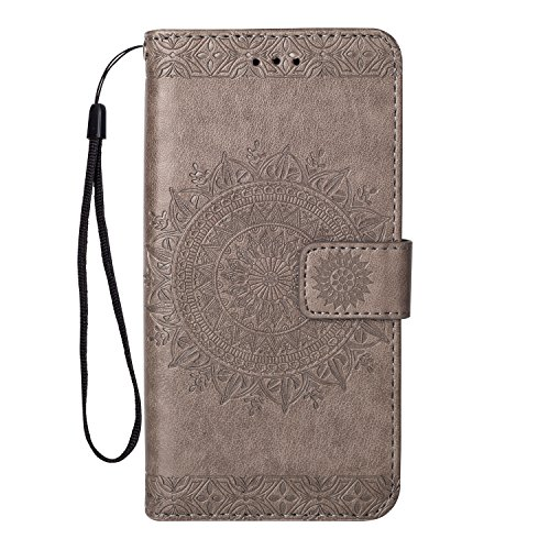 - Leather Wallet Case for Huawei P20 Lite,Yobby Huawei P20 Lite Gray Case Embossed Mandala 3D Pattern Slim Premium PU Flip Cover [Magnetic Closure] with Card Slots/Wrist Strap/Stand