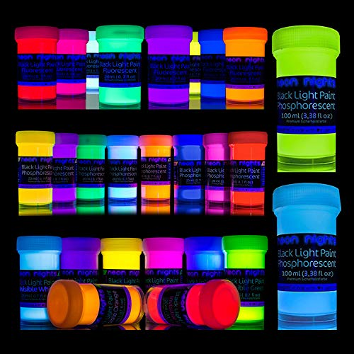 neon nights 'Glow Crafts XXL Set' 26 Cans of Paint | Glow in The Dark + UV Black Light + Invisible Fluorescent Paints | Luminescent, Phosphorescent, Self-Luminous | for Premium Art and Wall Paintings]()