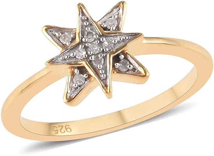 TJC White Diamond Band Ring for Women in 14ct Gold Plated Sterling Silver