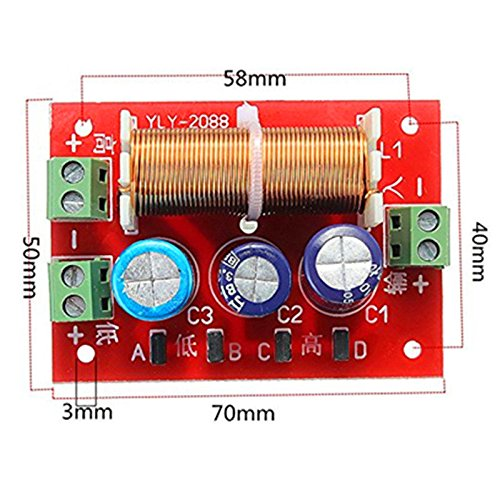 YLY-2088 400W Adjustable 2 Way Crossover Filters 2 Unit Audio Speaker Frequency Divider Full Range Treble Bass - Arduino Compatible SCM & DIY Kits by Davitu Module Board (Image #2)
