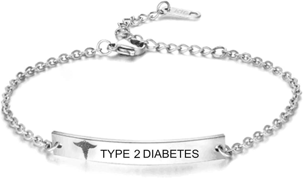 Acier Inoxydable or Rose Femmes Bracelet Médical Bracelet diabète de type 2