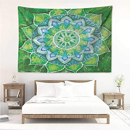 Mandala,Wall Decor Tapestry Grand Mandala with Leaf Forms Symbol of Nature and Zen Theme Green Boho Style Print 60W x 51L inch Tapestry Wallpaper Home Decor Green Blue