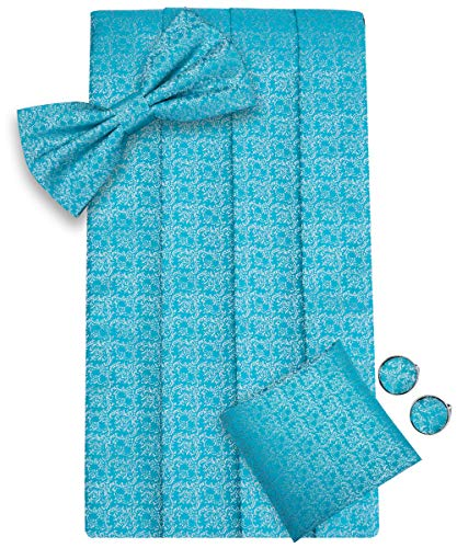 Blue Silk Cummerbunds - Dubulle Light Blue Mens Silk Bow Tie and Cummerbund Set with Handkerchief