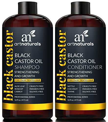 ArtNaturals Black Castor-Oil Shampoo and Conditioner – (2 x 16 Fl Oz / 473ml) – Strengthen, Grow and Restore – Jamaican Castor – For Color Treated Hair