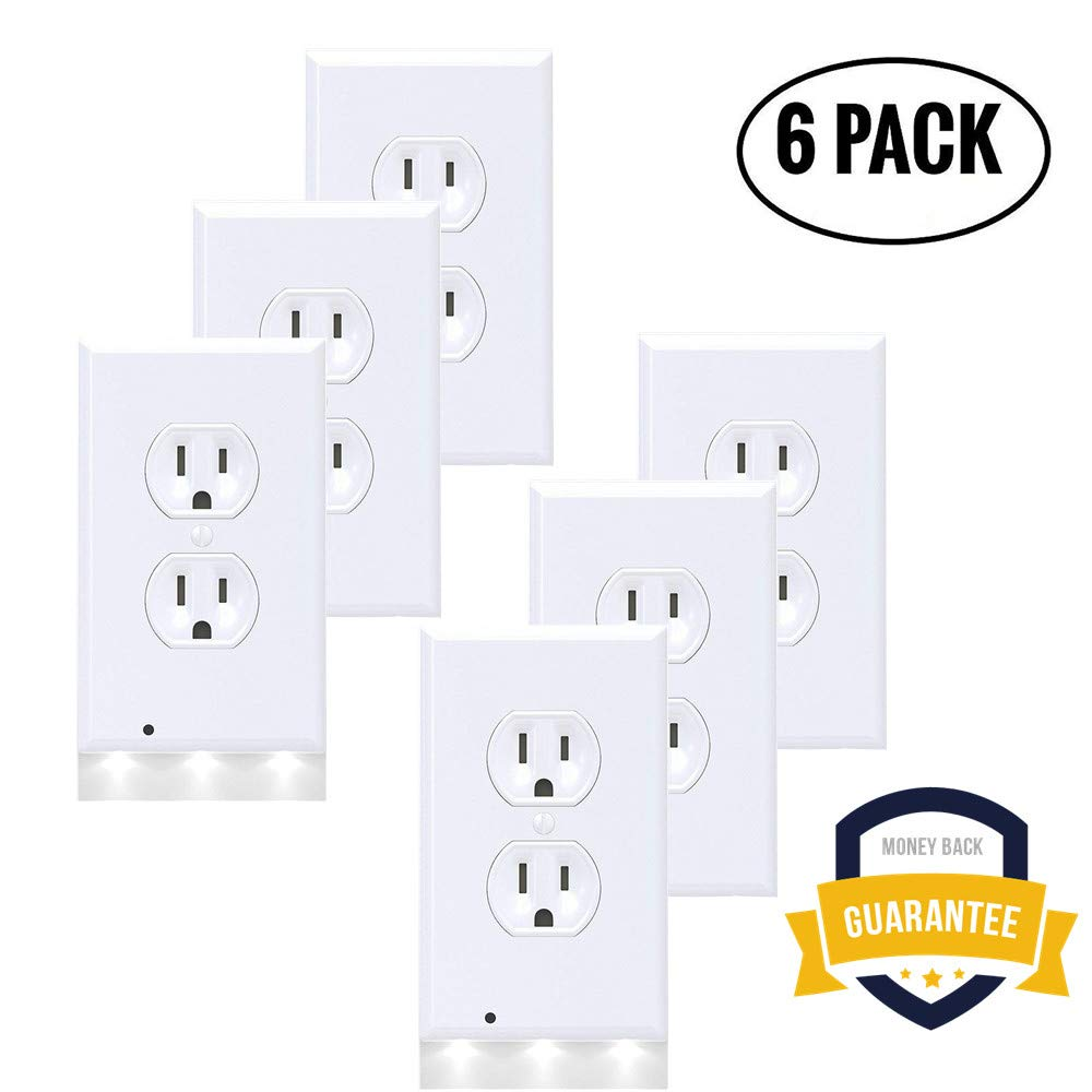 6 Pack Guidelight Outlet Wall Plate With LED Night Lights, Outlet Cover With No Battery and Wires Easy Installation In Seconds For Home Kitchen Bedroom Hallway Stairway Garage Utility Room