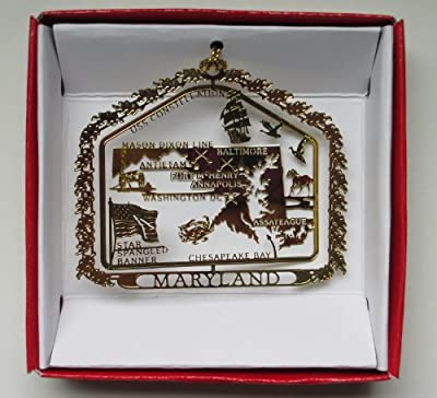 Maryland State Brass Christmas ORNAMENT Souvenir Gift