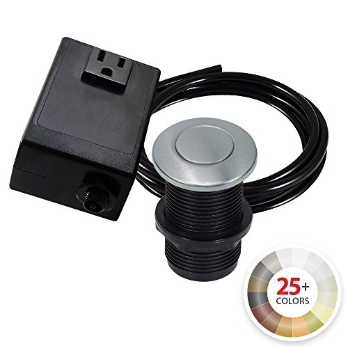 NORTHSTAR DECOR AS010 Single Outlet Garbage Disposal Air Switch Kit. Available in 20+ Finishes Matching any Faucet. Compatible with any Garbage Disposal (Satin Nickel Air Gap)