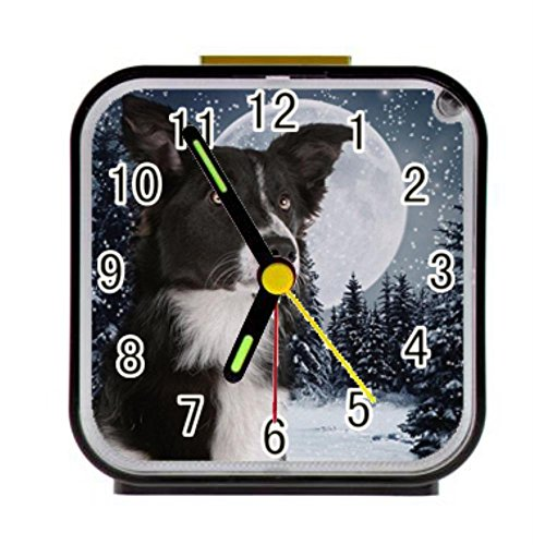 LiFei Business Border Collie Custom Square Black Alarm Clock
