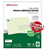 """Office Depot® Brand 100% Recycled Mailing Labels, Return Address, 2/3"""" X 1 3/4"""", White, Box of 1,500"""