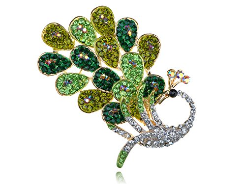 - Alilag Peridot Emerald Clear Crystal Rhinestone Peacock Feather Bird Design Pin Brooch