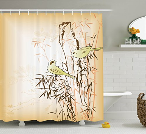 Ambesonne Bamboo House Decor Collection, Bamboo Leaf and Birds on the Branch Pine Grass Family Artistic Illustration, Polyester Fabric Bathroom Shower Curtain, 75 Inches Long, Yellow Brown Cream (Branch Bamboo)
