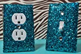 SwankElectric Teal Room Decor SET of Chunky TEAL Glitter Switch Plate & Outlet Cover ALL Styles Available!