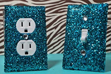 Amazon.com: Teal Room Decor SET of Chunky TEAL Glitter Switch Plate ...