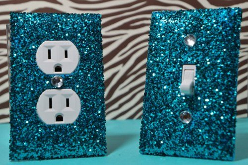SwankElectric Teal Room Decor SET of Chunky TEAL Glitter Switch Plate & Outlet Cover ALL Styles Available! by SwankElectric